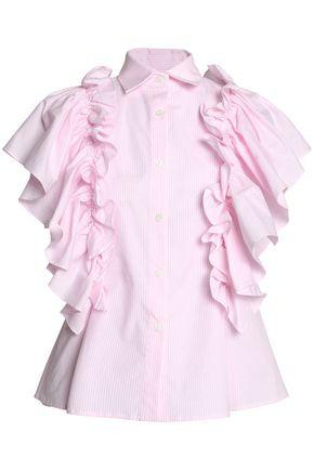 PETERSYN Ruffled striped cotton-poplin shirt
