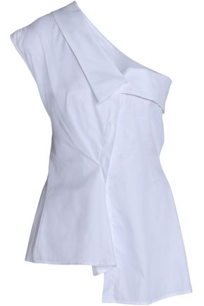 PETERSYN One-shoulder checked cotton top