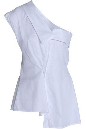 PETERSYN One-shoulder asymmetric cotton-poplin top