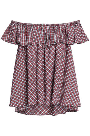 PETERSYN Off-the-shoulder checked cotton top