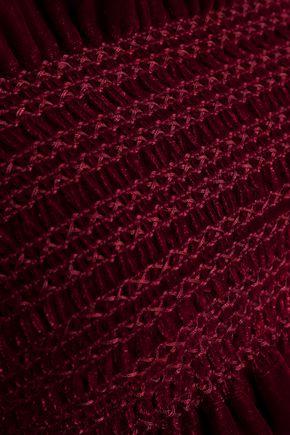 PETERSYN Cropped strapless shirred velvet top