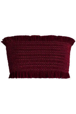 PETERSYN Cropped strapless shirred velvet top