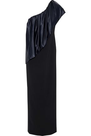 SACHIN & BABI Bebek one-shoulder taffeta-paneled cady gown