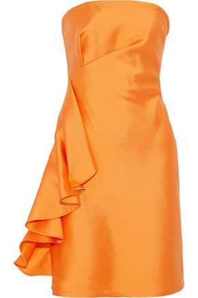 SACHIN & BABI Ortakoy strapless ruffled duchesse satin-twill mini dress