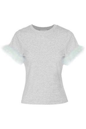 CINQ À SEPT Zoie feather-trimmed stretch-cotton jersey T-shirt