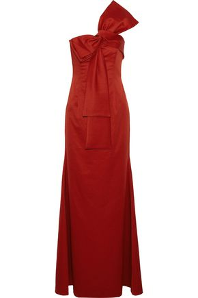 Sachin & Babi SACHIN & BABI WOMAN EMMELINE ONE-SHOULDER BOW-EMBELLISHED SATIN-FAILLE GOWN CRIMSON