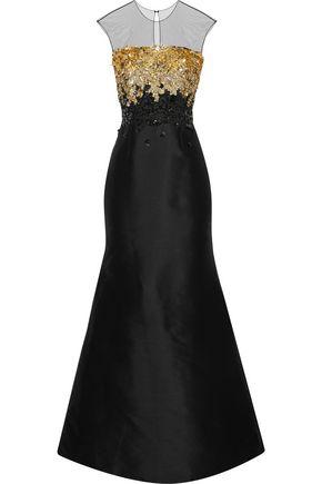 SACHIN & BABI Beekman tulle-paneled embellished duchesse satin-twill gown