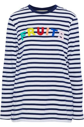 ÊTRE CÉCILE Printed striped cotton-jersey top