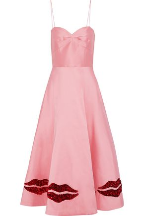 SACHIN & BABI Ela sequin-embellished duchesse satin-twill midi dress