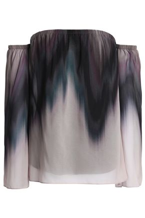 BAILEY 44 Grande Jete off-the-shoulder dégradé chiffon top