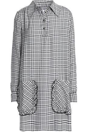 BAUM UND PFERDGARTEN Ruffle-trimmed checked twill mini shirt dress