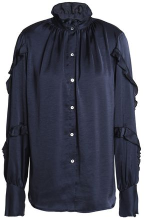 BAILEY 44 Ruffle-trimmed satin blouse