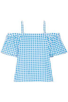 DRAPER JAMES Cold-shoulder gingham cotton and silk-blend top
