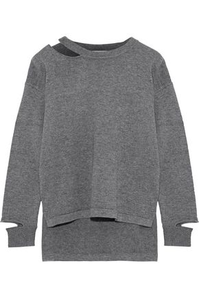 LNA Perry cutout merino wool and cotton-blend sweater