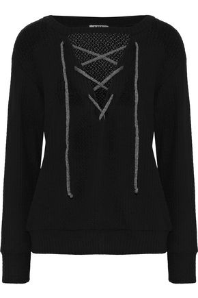 LNA Lace-up brushed ribbed-knit sweater
