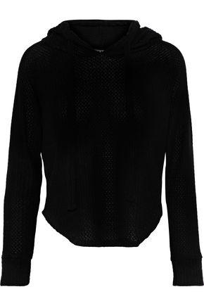 LNA Cara waffle-knit hooded sweatshirt