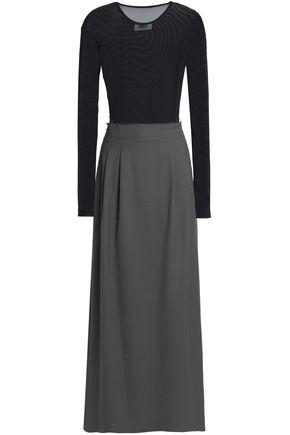 Mesh-paneled draped wool-twill maxi dress