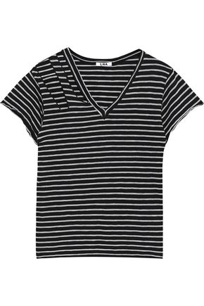 LNA Distressed cutout striped cotton-blend jersey T-shirt