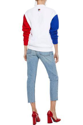 ÊTRE CÉCILE Embroidered printed color-block cotton-fleece sweatshirt
