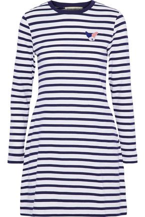 ÊTRE CÉCILE Appliquéd striped cotton-jersey mini dress