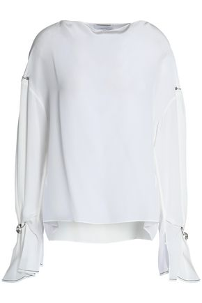 3.1 PHILLIP LIM Ring-embellished silk crepe de chine blouse