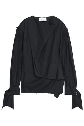 3.1 PHILLIP LIM Knotted draped cotton-poplin blouse