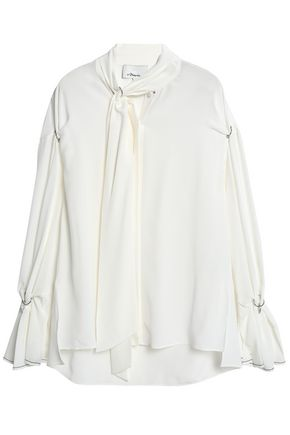 Barbell Embellished Draped Silk Blouse by 3.1 Phillip Lim