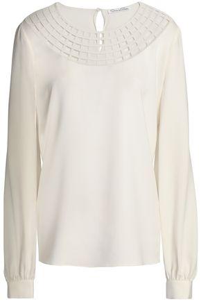 OSCAR DE LA RENTA Cutout silk-blend crepe blouse