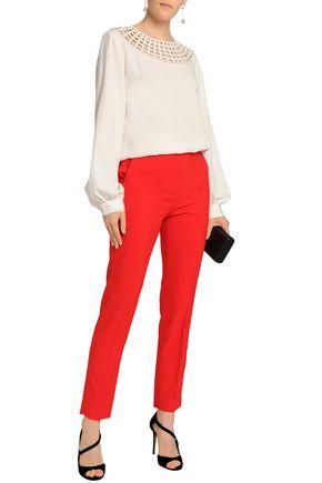 912970694d7c4 OSCAR DE LA RENTA Cutout silk-blend crepe blouse