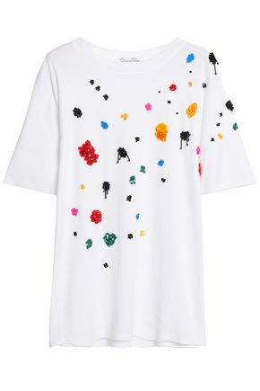 OSCAR DE LA RENTA Embellished Micro Modal and Supima cotton-jersey T-shirt