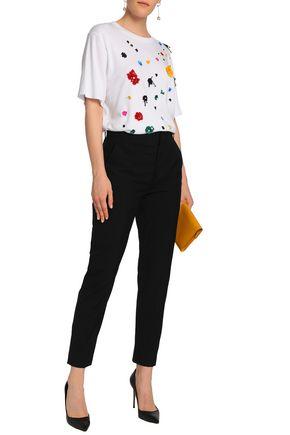 OSCAR DE LA RENTA Embellished Micro Modal and Supima cotton-jersey T-shirt