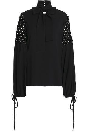 OSCAR DE LA RENTA Pussy-bow cutout silk-blend crepe blouse