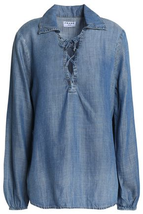 FRAME Lace-up chambray shirt