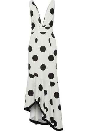 SACHIN & BABI Gabriella asymmetric polka-dot faille gown