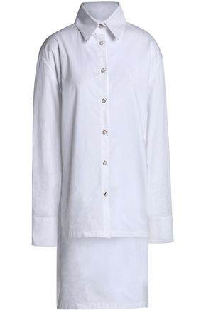 PAPER London Madonna tie-back button-detailed cotton-poplin shirt