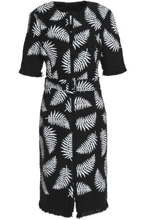 OSCAR DE LA RENTA Printed cotton-blend tweed dress