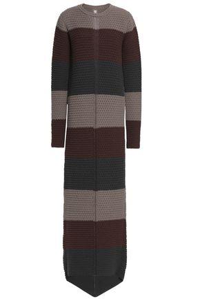RICK OWENS Striped basketweave wool maxi dress