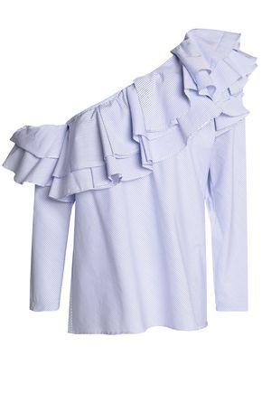 PETERSYN Dahlia one-shoulder ruffled striped cotton-poplin blouse