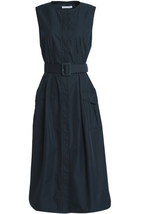 OSCAR DE LA RENTA Belted cotton-blend twill midi dress