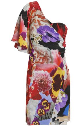 ROBERTO CAVALLI One-shoulder embellished floral-print silk crepe de chine mini dress