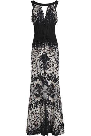 ROBERTO CAVALLI Ruched floral-print silk-georgette gown