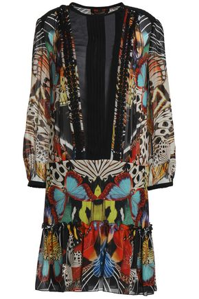 ROBERTO CAVALLI Chiffon-paneled printed silk-georgette mini dress