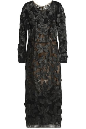OSCAR DE LA RENTA Leather-appliquéd cotton-blend guipure lace midi dress