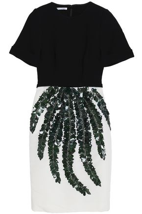 OSCAR DE LA RENTA Embellished faille and wool-blend dress