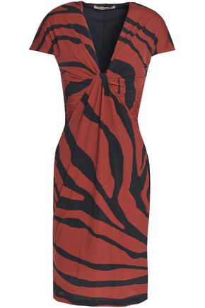 ROBERTO CAVALLI Twisted zebra-print stretch-jersey dress