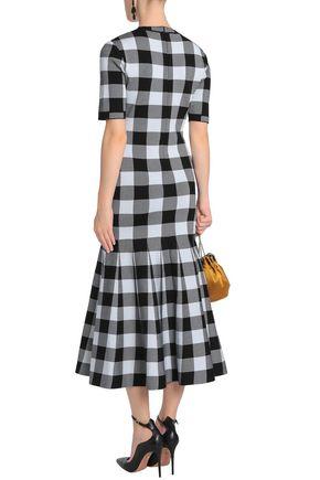 OSCAR DE LA RENTA Checked stretch-ponte midi dress