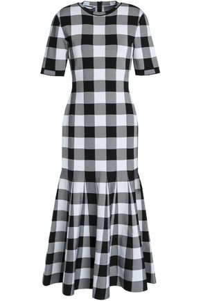 OSCAR DE LA RENTA Checked stretch-ponte midi dress