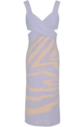 ROBERTO CAVALLI Wrap-effect pointelle and stretch-knit dress