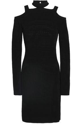 ROBERTO CAVALLI Cold-shoulder cutout pointelle-knit mini dress