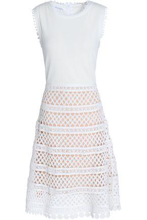 OSCAR DE LA RENTA Crochet-trimmed cotton and lace dress